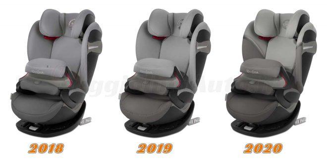 Le tre versioni 2018, 2019 e 2020 del Cybex Pallas S-Fix