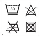 Simboli per il lavaggio del rivestimento del seggiolino