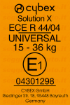 Cybex Solution X etichetta omologazione
