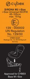 Cybex Sirona M2 i-size: etichetta omologazione
