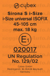 Etichetta di omologazione del Cybex Sirona S iSize