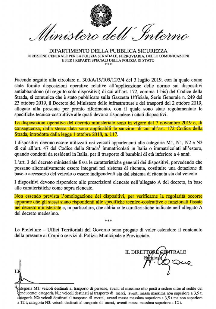 Circolare Ministeriale che conferma entrata in vigore della legge Anti Abbandono