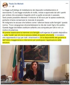 Post e video della ministra De Micheli