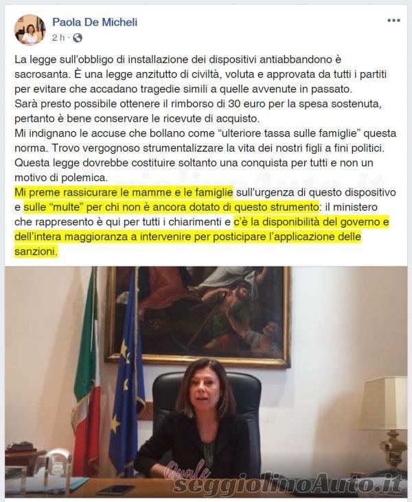 Post e video della ministra De Micheli