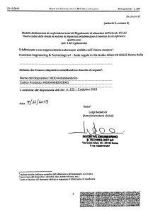 Dichiarazione di conformità del dispositivo anti abbandono Nido
