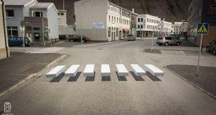 Strisce pedonali 3D disegnate sulle strade islandesi