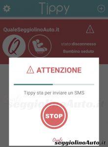 Schermata di Tippy con il countdown prima di inviare gli SMS d'emergenza